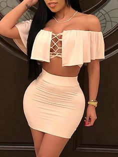 Sexy Ruffle Lace-up Bardot Top & Skirt Set Hot Outfits, Classy Outfits, Trendy Outfits, Dress Outfits, Girl Outfits, Fashion Outfits, Dress Fashion, Tight Dresses, Sexy Dresses