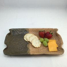 Ceramic Serving Tray in Brown and Tan