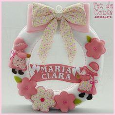 Porta de Maternidade Menina - Rosa - Faz de Conta Artesanato e Decoração