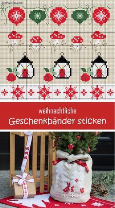Weihnachtliche Geschenkbänder mit Weihnachtsmotiven sticken. #Sticken #Kreuzstich / #Weihnachten - Geschenkband; #Embroidery #Crossstitch / #Christmas – hamper /  #ZWEIGART