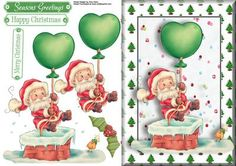 Santa Floating Down The Chimney on Craftsuprint designed by Amy Perry - Santa Floating Down The Chimney in lovely chunky christmas tree frame with 3 matching choice of tag and large holly  - Now available for download!
