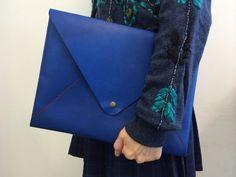 Leather envelope portfolio / document case by KonchCrafts on Etsy