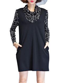 Elegant Printed Patchwork Turtleneck Mini Dress For Women