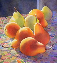 Watercolour still life, Barbara Fox Watercolor Projects, Watercolor Artists, Watercolor Paintings, Original Paintings, Watercolors, Watercolor Fruit, Watercolor And Ink, Pyrus, Pastel