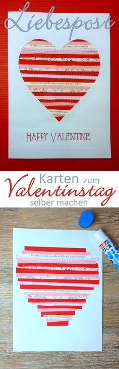 Grußkarte zum Valentinstag selber machen Am 14. Februar ist Valentinstag, der Tag der Liebenden. #DIY #basteln #Karten #Valentinstag #Liebe #Geschenk #Selbermachen #Liebesbrief