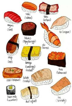 Ikura & Inari plz🙏 Order Sushi in Japanese 🇯🇵😃 🔥☀️ today 😄 😋 & are my favorite 🤤 📞 858 - 8537 🍣🥟🍤🥟🥗🍻 💻 GrubHub, Eat ChowNow, Seamless, delivery com, Yes ! Cute Food, Yummy Food, Types Of Sushi, Sushi Love, Food Drawing, Food Illustrations, Mochi, Bon Appetit, Asian Recipes