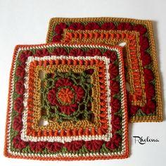 "Ravelry: A Fan of Bullions 12"" Afghan Square pattern by Rhelena's Crochet Patterns"