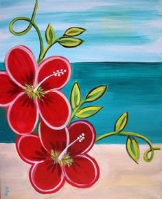 sip and paint 2018 acrylic canvas painting Easy Flower Painting, Flower Painting Canvas, Summer Painting, Flower Canvas, Flower Art, Easter Paintings, Simple Canvas Paintings, Easy Canvas Art, Acrylic Canvas