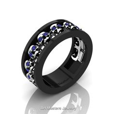 Mens Modern 14K Black and White Gold Blue Sapphire Skull Channel Cluster Wedding Ring R913-14KBWGBS | Art Masters Jewelry