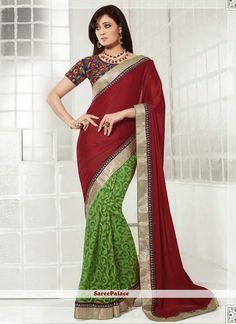 Shweta Tiwari Style Maroon And Green Chiffon Half And Half Saree