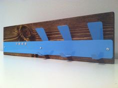 SKY BLUE//STAINLESS rustic modern magnetic mail organizer/coat, key rack, his hers organization on Etsy, $62.00
