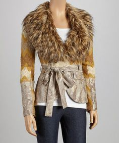 Take a look at this Gold Faux Fur Jacket by delfine on #zulily today!
