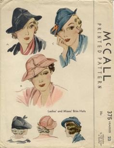 pretty vintage sewing patterns for hats Hat Patterns To Sew, Mccalls Patterns, Vintage Sewing Patterns, Print Patterns, Paper Patterns, Moda Vintage, Vintage Hats, Vintage Dress, Vintage Paper
