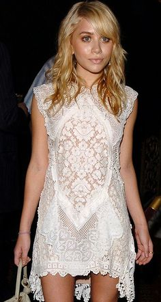 Ashley Olsen in her lace white dress