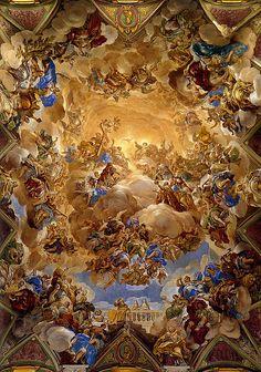 Paintings al fresco by Luca Giordano. Rennaissance Art, Renaissance Kunst, Baroque Painting, Ceiling Art, Classic Paintings, Classical Art, Religious Art, Aesthetic Art, Oeuvre D'art