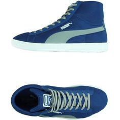 Puma Sneakers ($60) ❤ liked on Polyvore featuring shoes, sneakers, blue, flat shoes, puma trainers, flat sneakers, blue sneakers and puma shoes