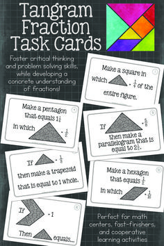 When it comes to teaching fractions, hands-on activities are a must. Tangrams are the perfect manipulative for building a conceptual understanding of fractions. First Grade Math, Sixth Grade, Fourth Grade, Grade 2, Math Resources, Math Activities, Elementary Science Classroom, Upper Elementary, Teaching Critical Thinking
