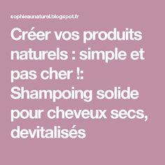 Créer vos produits naturels : simple et pas cher !: Shampoing solide pour cheveux secs, devitalisés Dyi, Simple, Saga, Home Made, Dry Hair, Cosmetics