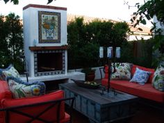 Old California Santa Barbara style Spanish Courtyard revamped for todays outdoor living needs updated with bright vibrant...