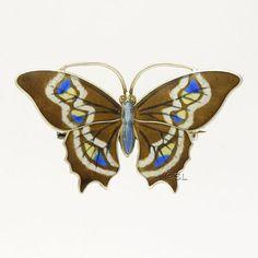 Edwardian Sterling Silver Enamel Butterfly Brooch - MARIUS HAMMER - Norway