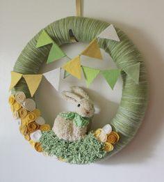 Rabbit Wreath, Bunny Wreath, Green and Yellow Nursery Wreath, Easter Wreath, Extra Large 18 inch size. $85.00, via Etsy.