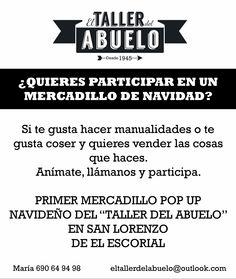 Convocatoria a artesanos, para participar en un mercadillo navideño en la sierra de Madrid. Apúntate!!!
