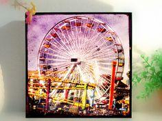 Ferris Wheel Photography Wood Block Photo Retro Art by trolleyla (Art & Collectibles, Photography, retro art print, carnival, santa monica, Ferris wheel photo, Santa Monica pier, ferris wheel art, ferris wheel mounted, Wood block photo, Retro photography, Ferris wheel print, wood block, carnival wall art, lavender pink)