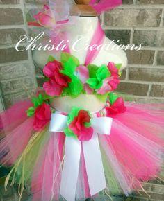 Pink Hawaiian LuauBaby Girl 1st Birthday Tutu by ChristiCreations, $65.00