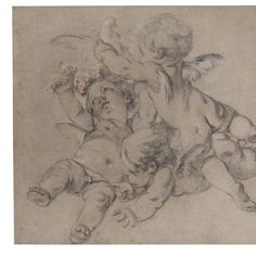 François Boucher, three putti flying with a dove Kathe Kollwitz, Cherub Tattoo, Human Anatomy Drawing, Drawing School, Ange Demon, Classical Art, Old Master, Fabric Wallpaper, Art Pictures