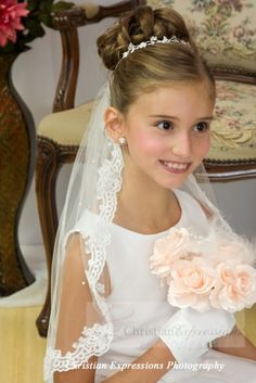 This first communion mantilla features delicate scalloped lace with scattered pearls. this first communion veil includes an attached comb. First Communion Veils, Girls Communion Dresses, First Communion Party, Communion Cakes, First Holy Communion, Communion Gifts, Communion Hairstyles, Veil Hairstyles, Poses