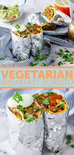 Recipes Breakfast Vegetarian These vegetarian breakfast burritos are perfect for meal prep and will keep you going all morning long! Add whatever veggies you like to really make it your own. Vegetarian Burrito, Healthy Vegetarian Breakfast, Vegetarian Meal Prep, Vegetarian Recipes Easy, Spicy Recipes, Healthy Recipes, Breakfast Burritos, Eat Breakfast, Breakfast Ideas