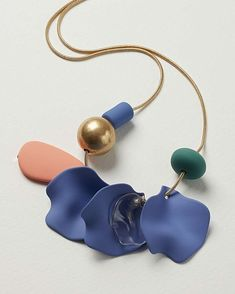 On a gold-toned chain, this long necklace features a beaded design in blue, green and pink tones, and is fastened with a lobster clasp. Oliver Bonas, Long Pendant Necklace, Pink Tone, Peonies, Pearl Earrings, Beads, Chain, Green, Gold