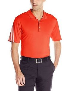 adidas Men's Climacool 3-Stripe Polo Hi Res Red/Mid Grey S