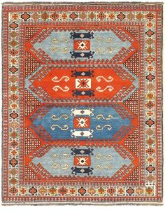 Hand Knotted Chechen Dark Orange Wool Rug