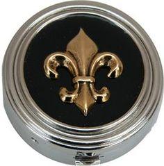 Small Round Silver Box with Fleur Black and Gold Theme #takemetoNOLA