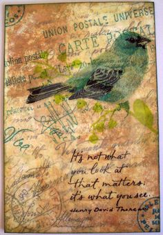 beeswax encaustic collage | Encaustic Collage, Postale Blue Bird, Mixed Media Inspirational Art ...