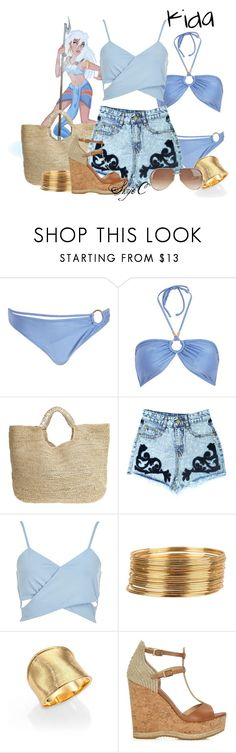 """""""Kida - Summer / Beach - Disney's Atlantis"""" by rubytyra ❤ liked on Polyvore featuring River Island, Flora Bella, Armitage Avenue, Marco Bicego, Jimmy Choo and Gucci"""