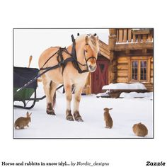 Horse and rabbits in snow idyllic countrylife wood print #art #print #panel #decor #home #interior #animals #horse #Winter #countrylife #countryliving #Nordic #Scandinavian #norway #farm #zazzle