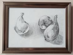 "ORIGINAL Framed Signed Still Life Drawing in Pencil of Pears by VLGStudios This drawing is entitled ""PEARS"".  Completed in September 2010 as a part of still-life study of fruit and veg, it depicts three pears on a breakfast table."