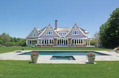 Private Ocean Access In Bridgehampton South. New custom built 8000 sq. ft. shingled estate in the most desirable location. Beautifully appointed with 7 bedroom suites, 8.5 baths, 3 fireplaces, large chefs eat in kitchen, living room, formal dining room, library, sunroom with fireplace, finished basement and heated oversized gunite pool and spa surrounded by beautiful manicured landscaping. Located in exclusive beach neighborhood.