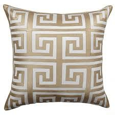 The Greek key design of the Mykonos Pillow takes center stage with its careful fretwork applique. Gold Pillows, Diy Pillows, Decorative Pillows, Throw Pillows, Sofa Cushions, Affordable Modern Furniture, Rug, Stylish Home Decor, Greek Key
