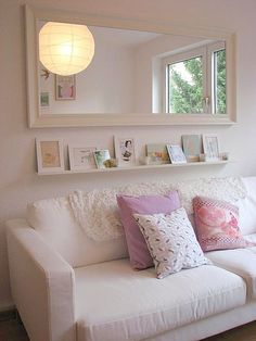 Large mirror above couch in family room. Floating shelves for decor? Home Living Room, Apartment Living, Living Room Decor, Apartment Ideas, Living Room With Mirror, Living Room Wall Decor Ideas Above Couch, Mirror Over Couch, Above The Couch, Over Couch Decor