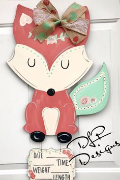Baby girl fox hospital door hanger