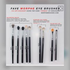 "All my favorite MORPHE BRUSHES eye brushes! I use these literally every single day I do my makeup. I've had most of these for about a year now and they haven't failed me yet. ___ DISCOUNT: OFF using the code ""THOMAS"" at online checkout or at the Morphe Makeup Goals, Love Makeup, Makeup Inspo, Makeup Inspiration, Makeup Ideas, Makeup 101, Makeup Salon, Makeup Studio, Dress Makeup"