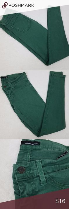 Flying Monkey Junior's Size 3 Green Skinny Jeans Flying Monkey Junior's Size 3 Green Skinny Jeans, Made in USA - P3 Flying Monkey Jeans Skinny