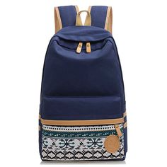 good quality cotton canvas backpack for school (BP25-13) national solid zipper print  book school bags(SB25-23)
