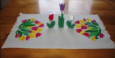 Vintage Linen Table Runner and Wooden Tulips by DeeGeeRetro on Etsy