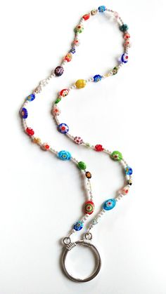 24 Inch Chain Colorful Silvertone Beaded Pendant Necklace MothersDay Gift Idea Handmade Jewelry Pendant Necklace