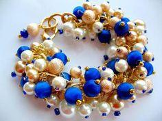 Royal Blue and Gold Cha Cha Bracelet  Vintage by HappyliciousInc