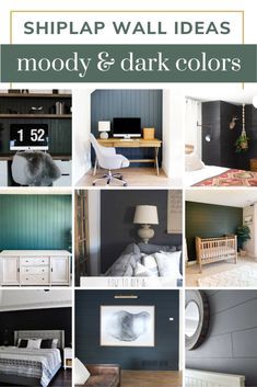 Are you wanting to incorporate shiplap in your home, but bored of white? Why not a black shiplap wall or some other dark shiplap color! Get inspired with these dark shiplap wall ideas! Wall Decor Crafts, Home Decor, Wall Ideas, Decor Ideas, Manzanita, Ship Lap Walls, Dark Colors, Gallery Wall, Cabinet